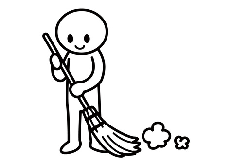 Stick man - sweep with a broom