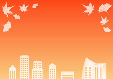 Fall in the autumn sky · cityscape and fallen leaves