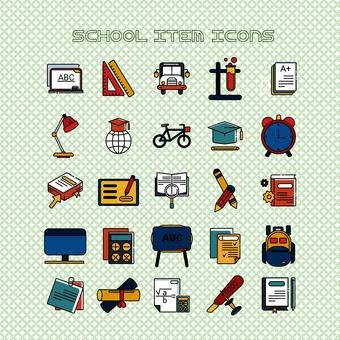 School item icon set