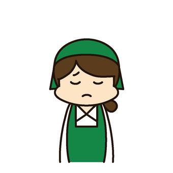 Super female clerk sad