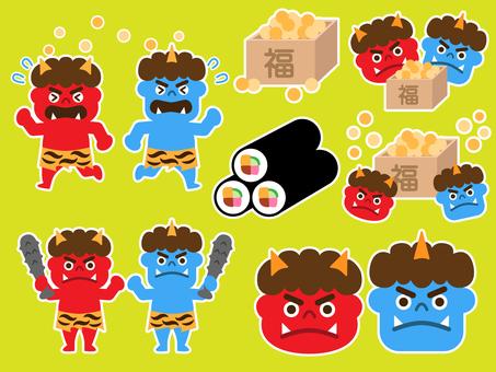Setsubun (bean · demon · bean maki) set (white border)