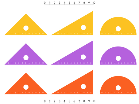 Triangle ruler (Transparent yellow / purple / orange)