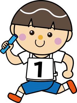 Boy 13_07 (running · baton relay)