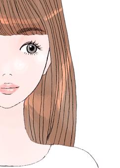 여자 머리 갈색 머리 여자 예쁜