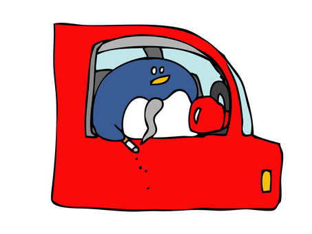Penguin dropping cigarette ash from car window