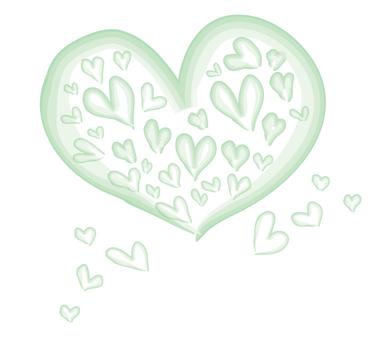 Watercolor painting heart full green