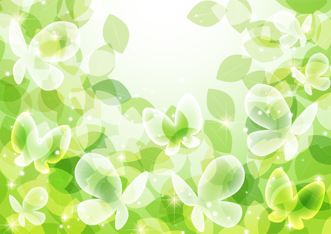 Fresh green and butterfly glitter background