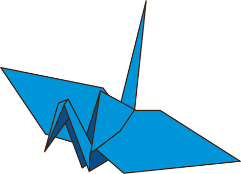 Folded paper crane blue