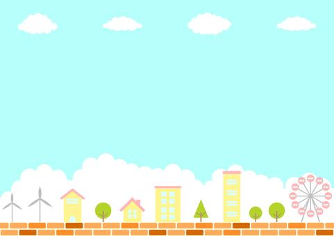 Cityscape, brick, blue sky