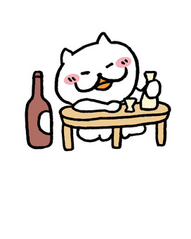 Cat one person wine
