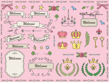 Hand drawn ribbon various set