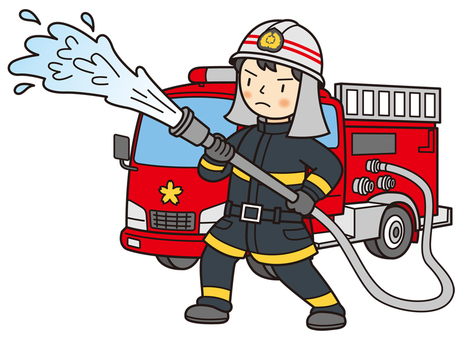 Firefighter to discharge water