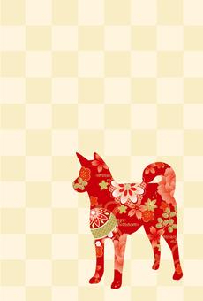 Japanese pattern dog postcard