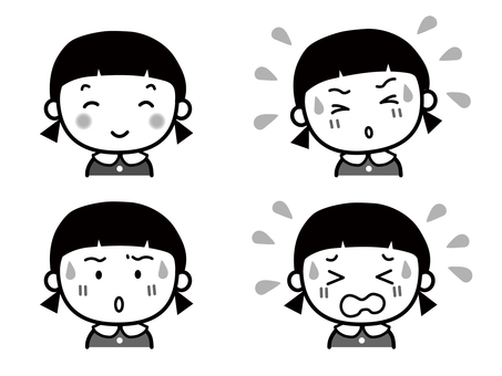 Girl facial expression set monochrome