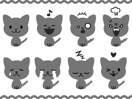Cats of various expressions (monochrome)