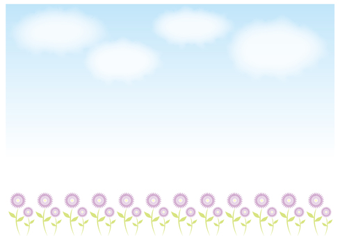 Wallpaper, Flower with blue sky and clouds