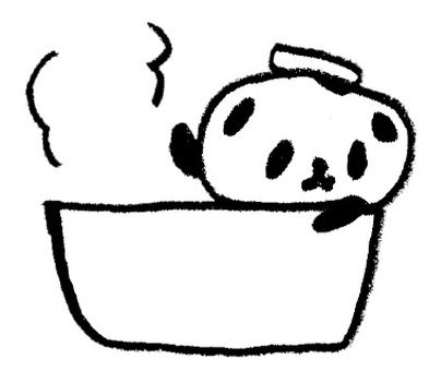 Pandas entering the bath