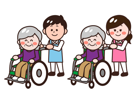 Caregiver pushing wheelchair (male / female) set
