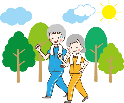 Elderly couple walking _NC 32