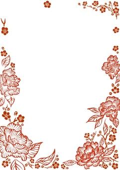 梅と花柄フレーム