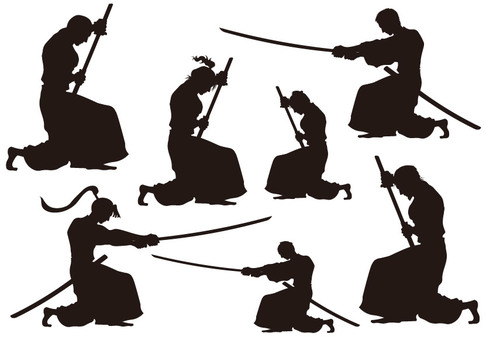Samurai silhouette set material