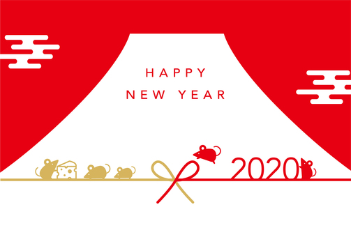 New Year's card Mount Fuji and child 2020