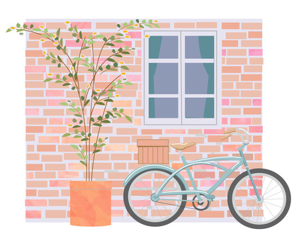 Bicycle in front of brick wall
