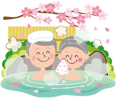 Sakura Spring open-air bath Family hot spring elderly couple rock bath