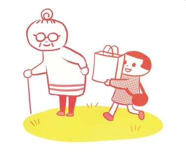 おばあちゃんの荷物をもってあげる孫