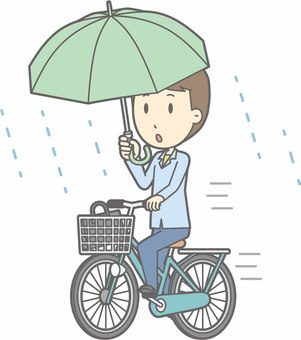 Bicycle Male - Bicycle Umbrella - whole body