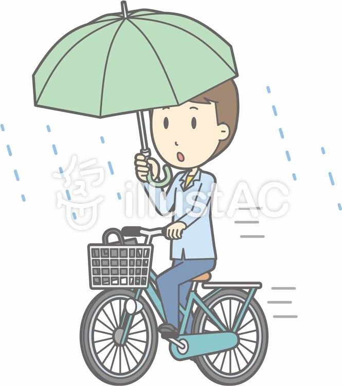 自転車男性-自転車傘-全身のイラスト