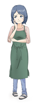 Green apron woman with troublesome facial expression _ Bust