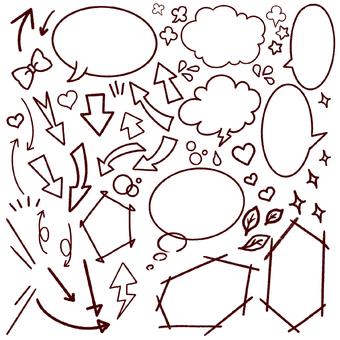 Handwritten speech bubble set Line only