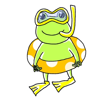 A frog with a float and a snorkel