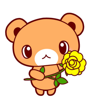 Illustration of a bear with a father's day · yellow rose