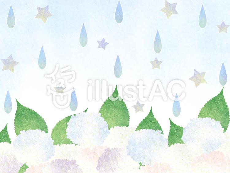【フリーイラスト素材】雨と紫陽花(昼間)