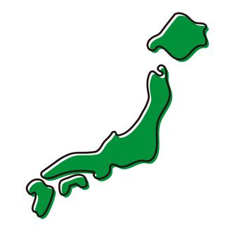 Handwritten style Japan map _ green 2