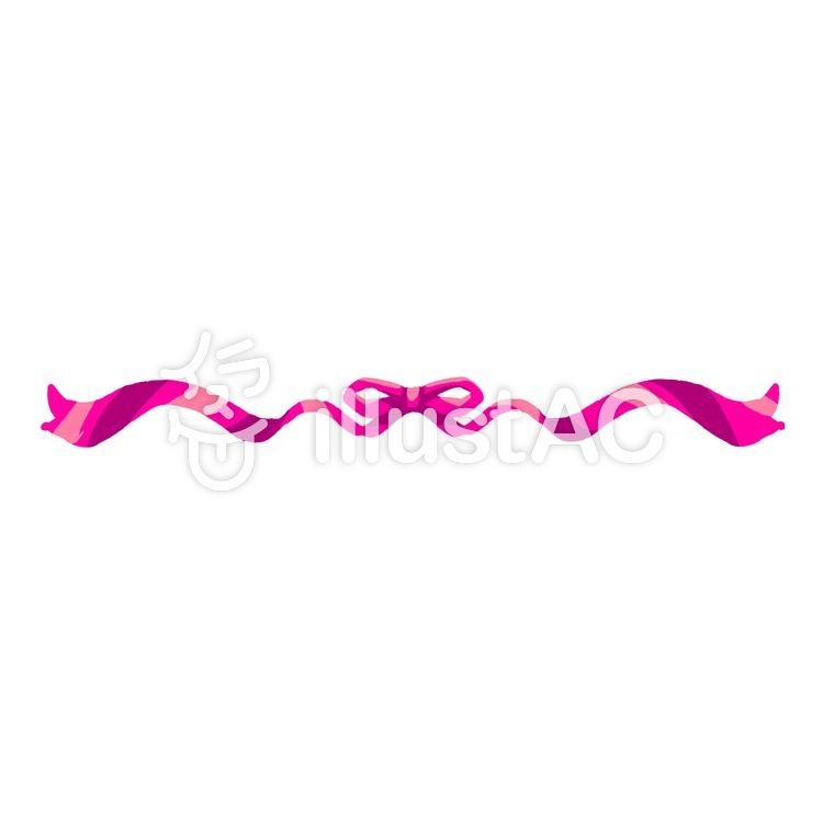 区切り線(長いリボン・ピンク)のイラスト