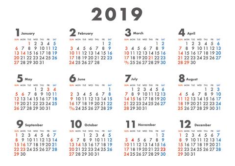 2019 Calendar Sunday Beginning A4 03
