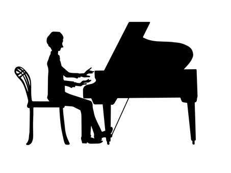 Piano and men (silhouette)