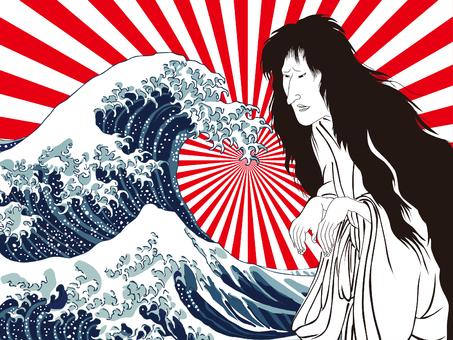 神奈川沖浪裏と和服女性 その7