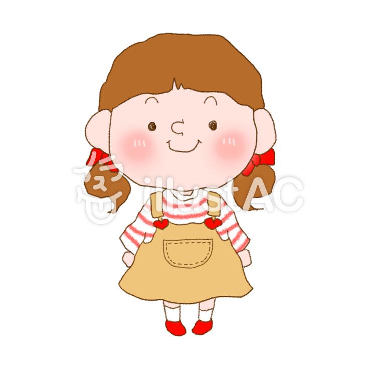 手書き風サロペットスカート女の子