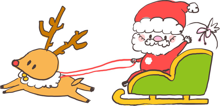 Santa Claus Hand-drawn Wind (Sled and Reindeer)