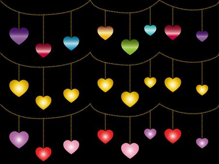 Heart ornament Various material set