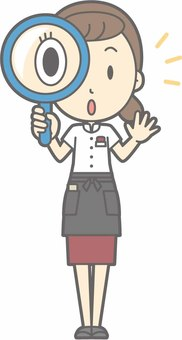 Waitress a - magnifying glass - whole body
