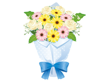 Bouquet of White Roses and Gerberas Arrangement 02