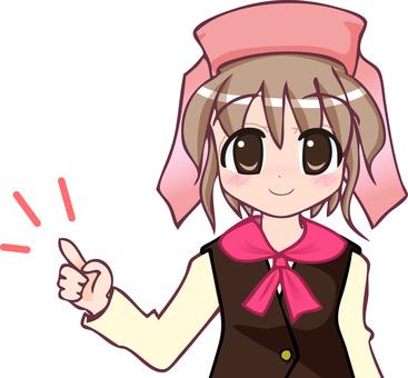 Clerk 1 Pink finger pointing upper body