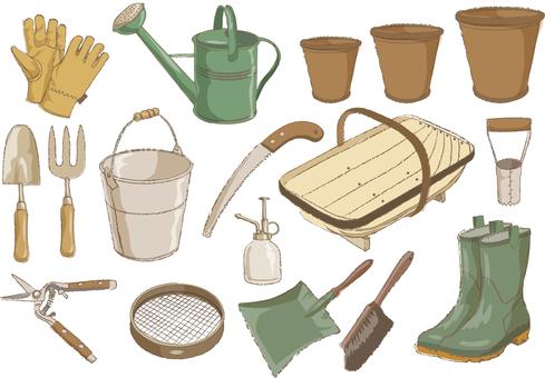 Assortment of gardening supplies