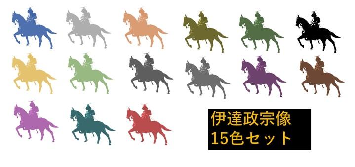 Illustration set of Date Masamune statue