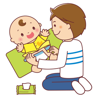 Baby, dad, diaper changing illustration